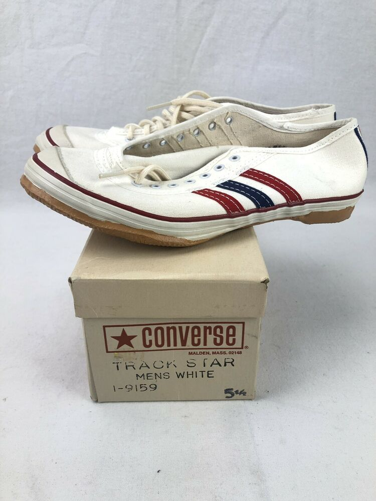 Vintage Converse Chuck Taylor Track Star Shoes Nos 60s With Box Size 5 5 White Converse Athletic Star Shoes Vintage Outfits Converse