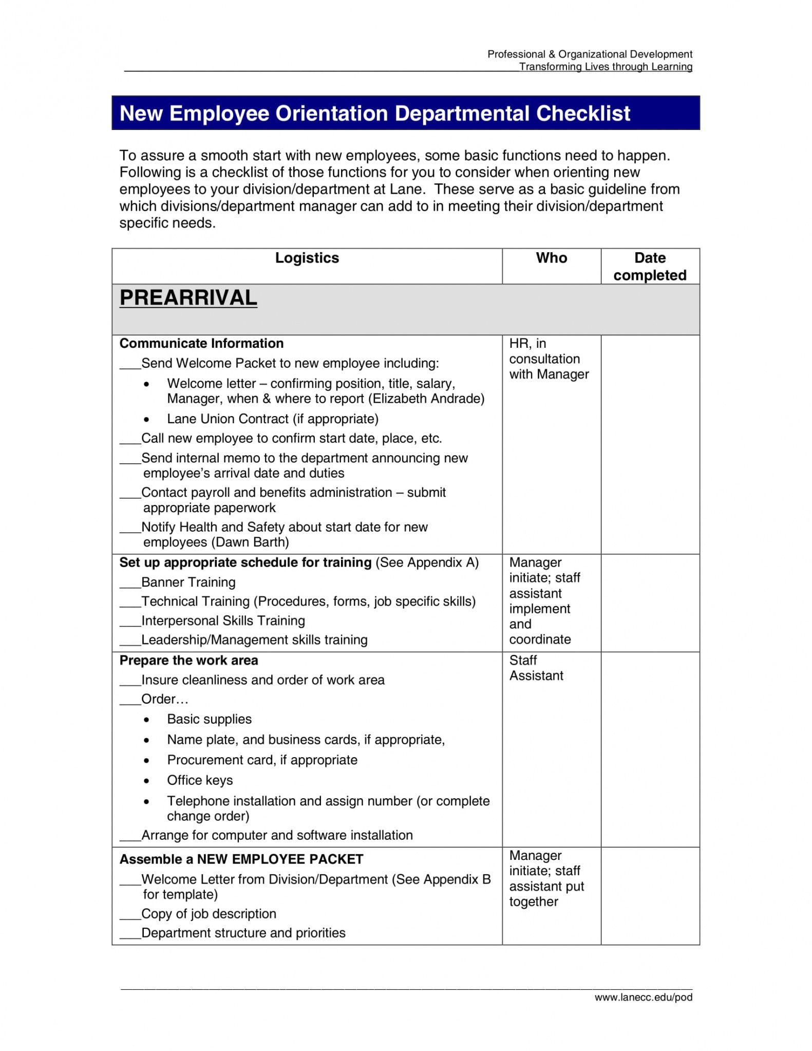 30 new employee orientation program checklist pdf examples new ...