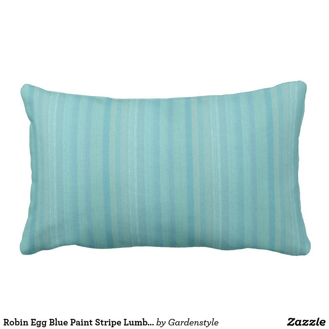 Robin Egg Blue Paint Stripe Lumbar Outdoor Pillow