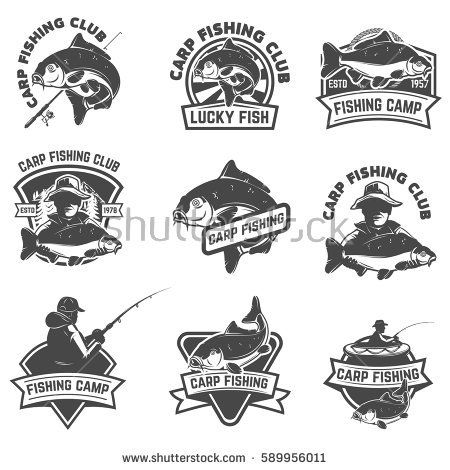Set of carp fishing labels isolated on white background for Carp pond design