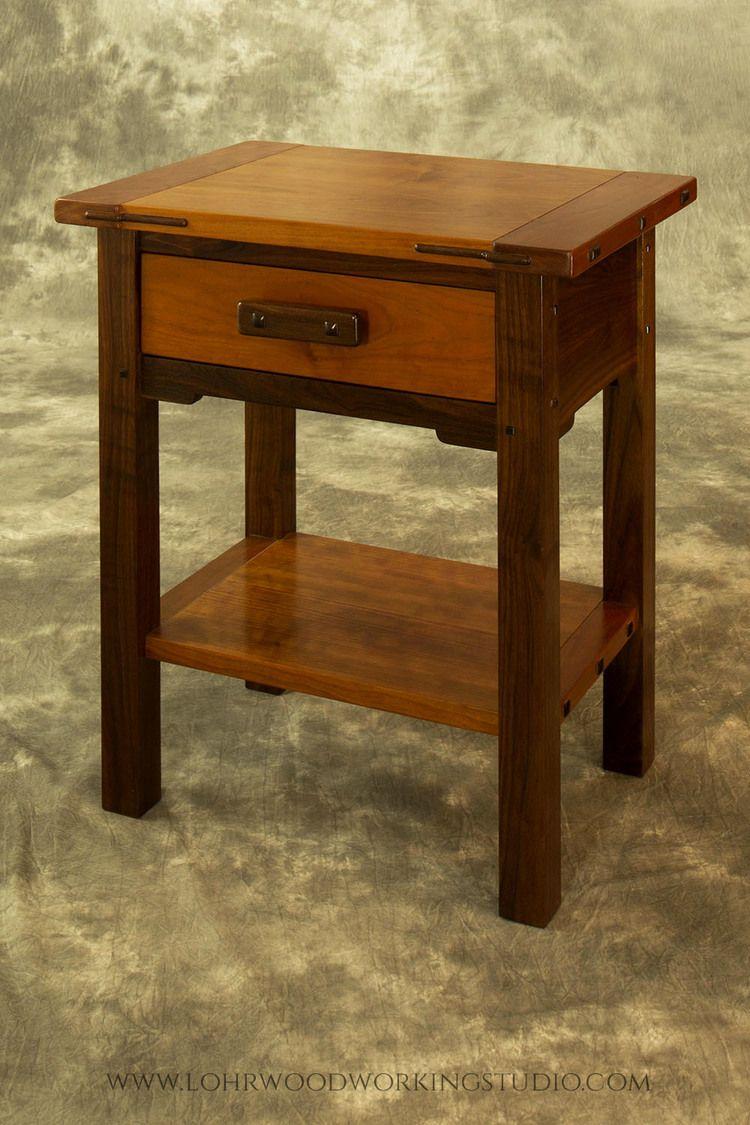 Walnut Cherry Accessory Table Craftsman Style Furniture Woodworking Inspiration Designer Nightstand