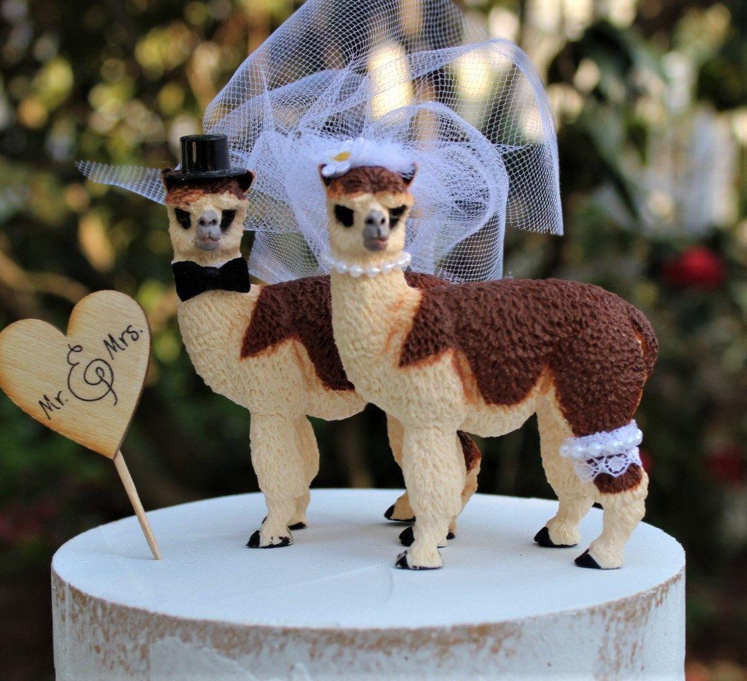 llama cake topper wedding
