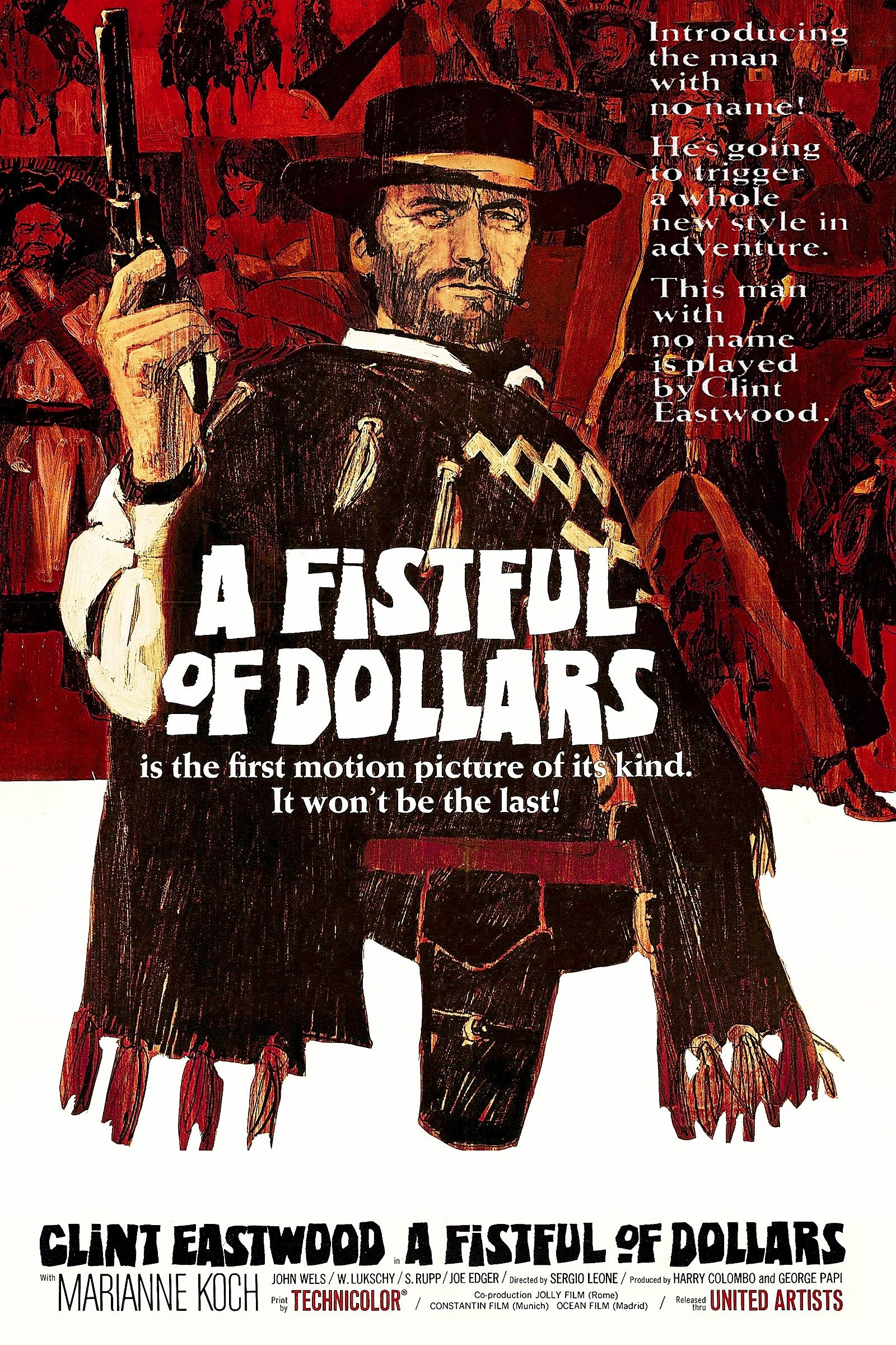 A Fistful of Dollars Wall art. old Classic cowboy movie Reproduction poster