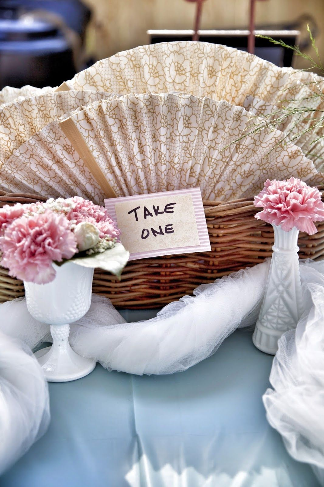 PAPER FANS for hot temp wedding Lola Tangled DIY Vintage Backyard