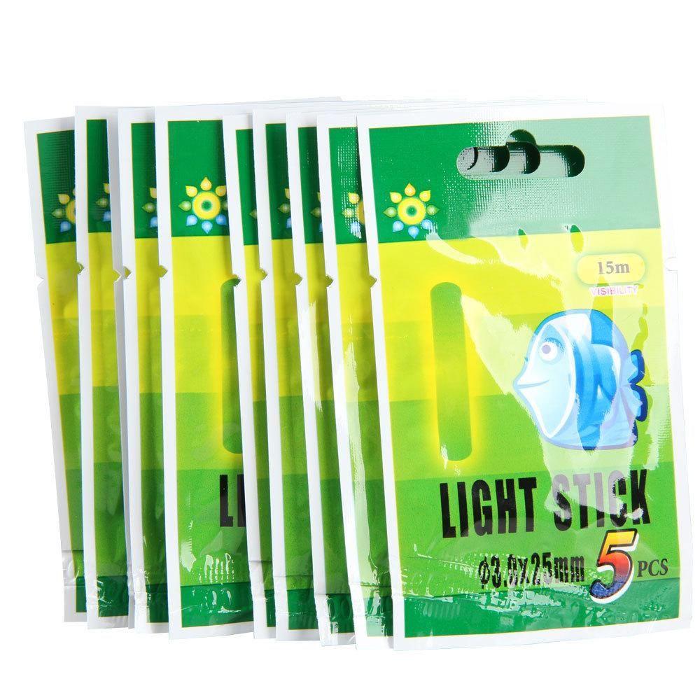 50 X Fishing Fluorescent Lightstick Light Night Float Clip On Glow Stick 25mm
