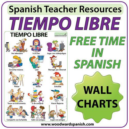 Spanish Free Time Wall Charts Flash Cards Afiches Con Vocabulario Asociado Con El Tiempo Libre En Free Time Activities Spanish Teacher Resources Flashcards