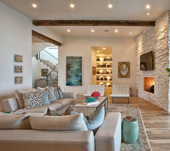Diez salones con pared de piedra fant sticos ambientes de - Salones con piedra ...