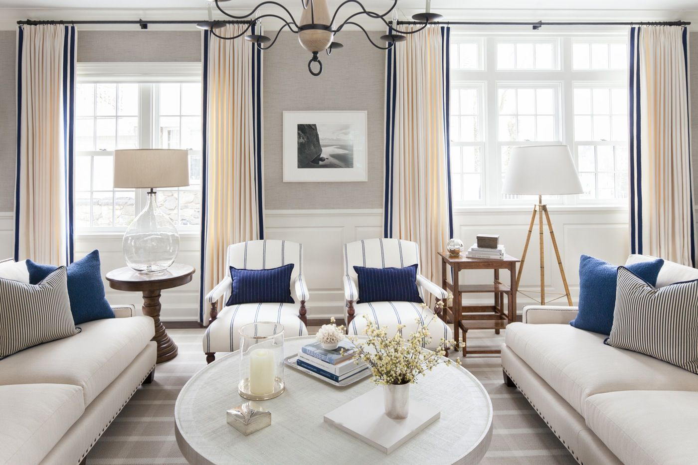 Nautical Living Room Design Classy Pinch Top Or Bohemian Pleated Draperies With Contrast Leading 2018