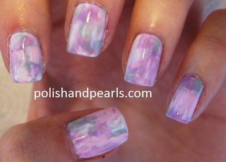 no water needed marble watercolor saran wrap nail art design (no ...