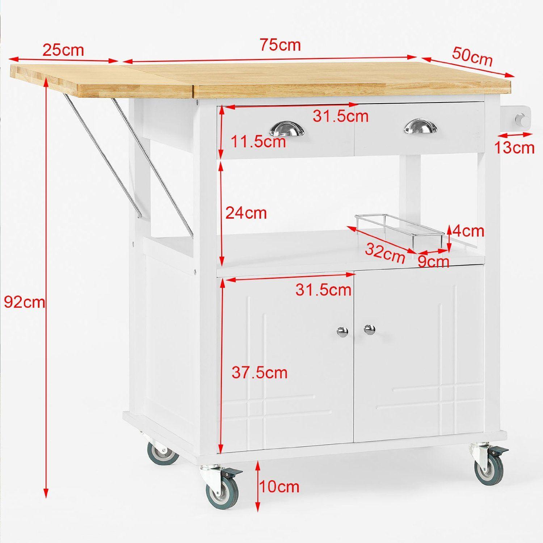 SoBuy® Mesa con ruedas de carro de almacenamiento del gabinete ...