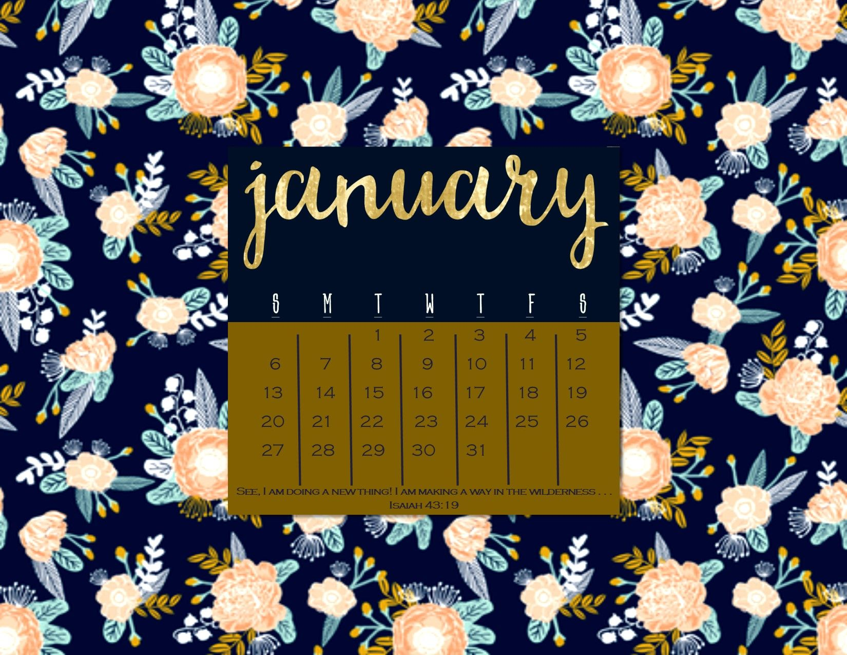 January 2019 Desktop Calendar Wallpaper Winter Floral