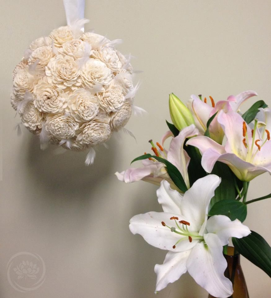 Flower decor ball decoration made of Ivory Raleigh balsa wood ...