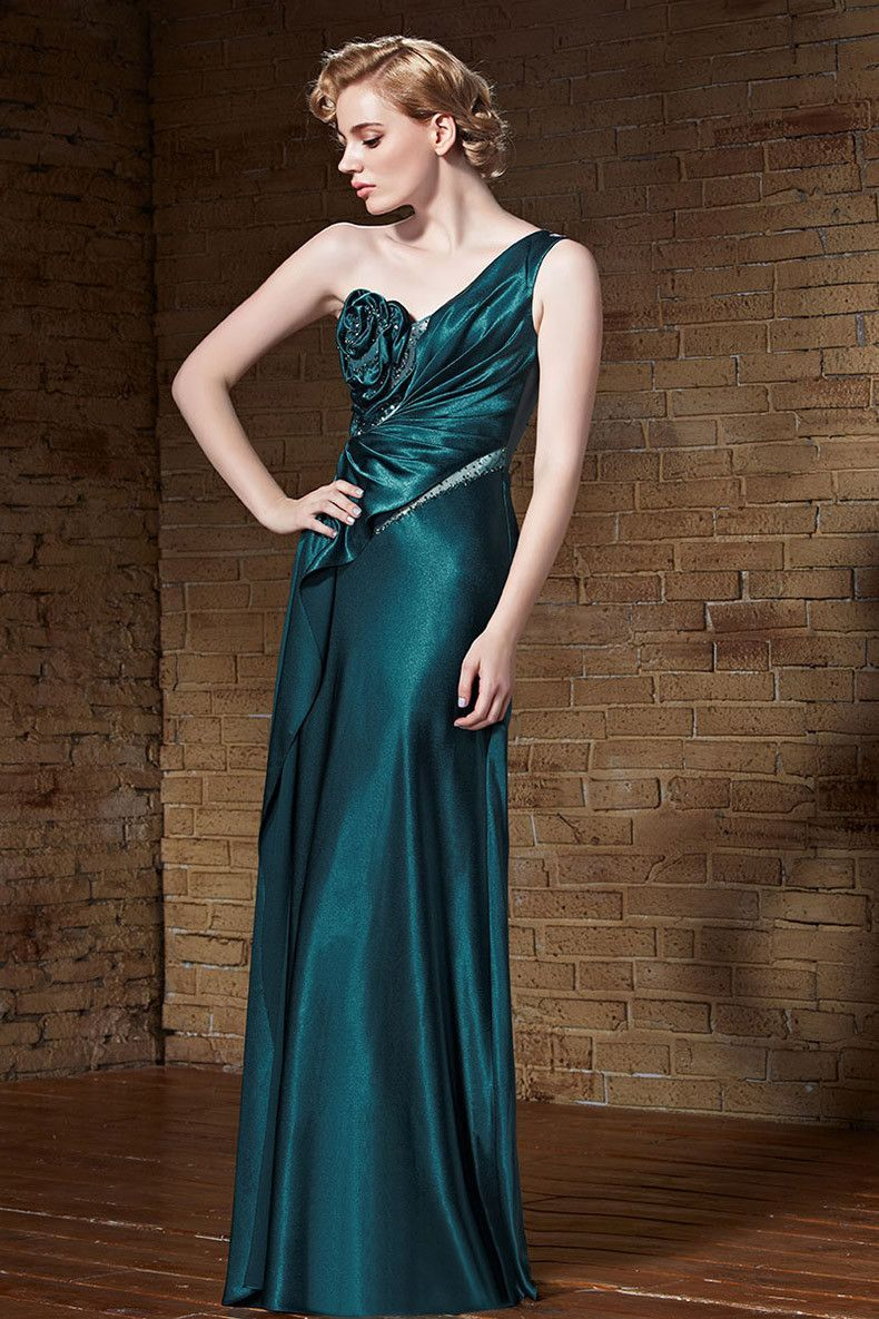 Vintage Hollywood One Shoulder Teal Green Formal Prom Evening Dress