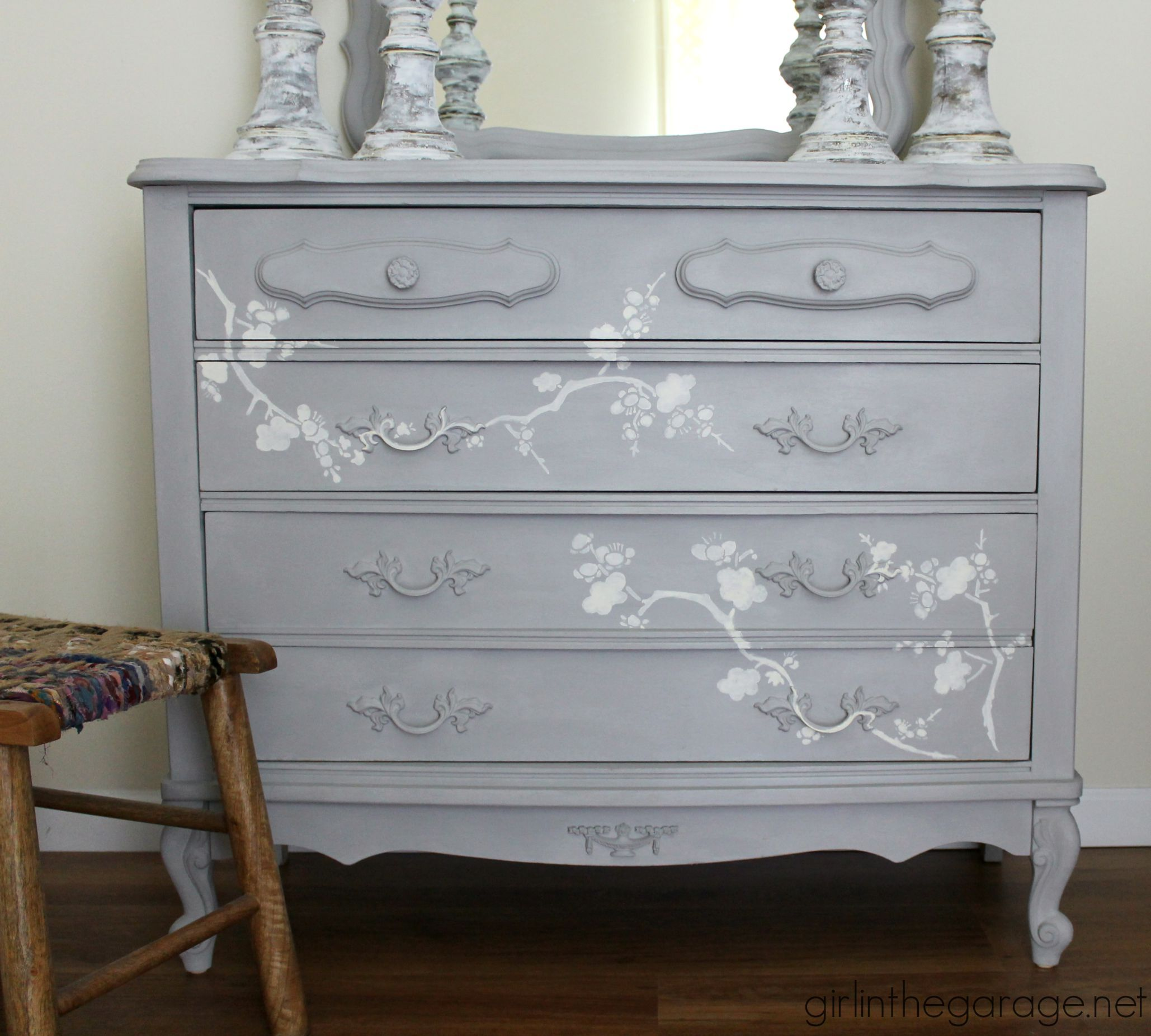 Chalk Paint and Cherry Blossoms - A Dresser Makeov