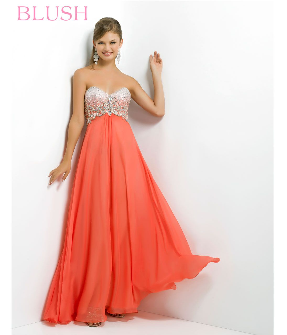 Blush 2014 Prom Dresses - Coral Pink Sequin & Chiffon Strapless ...