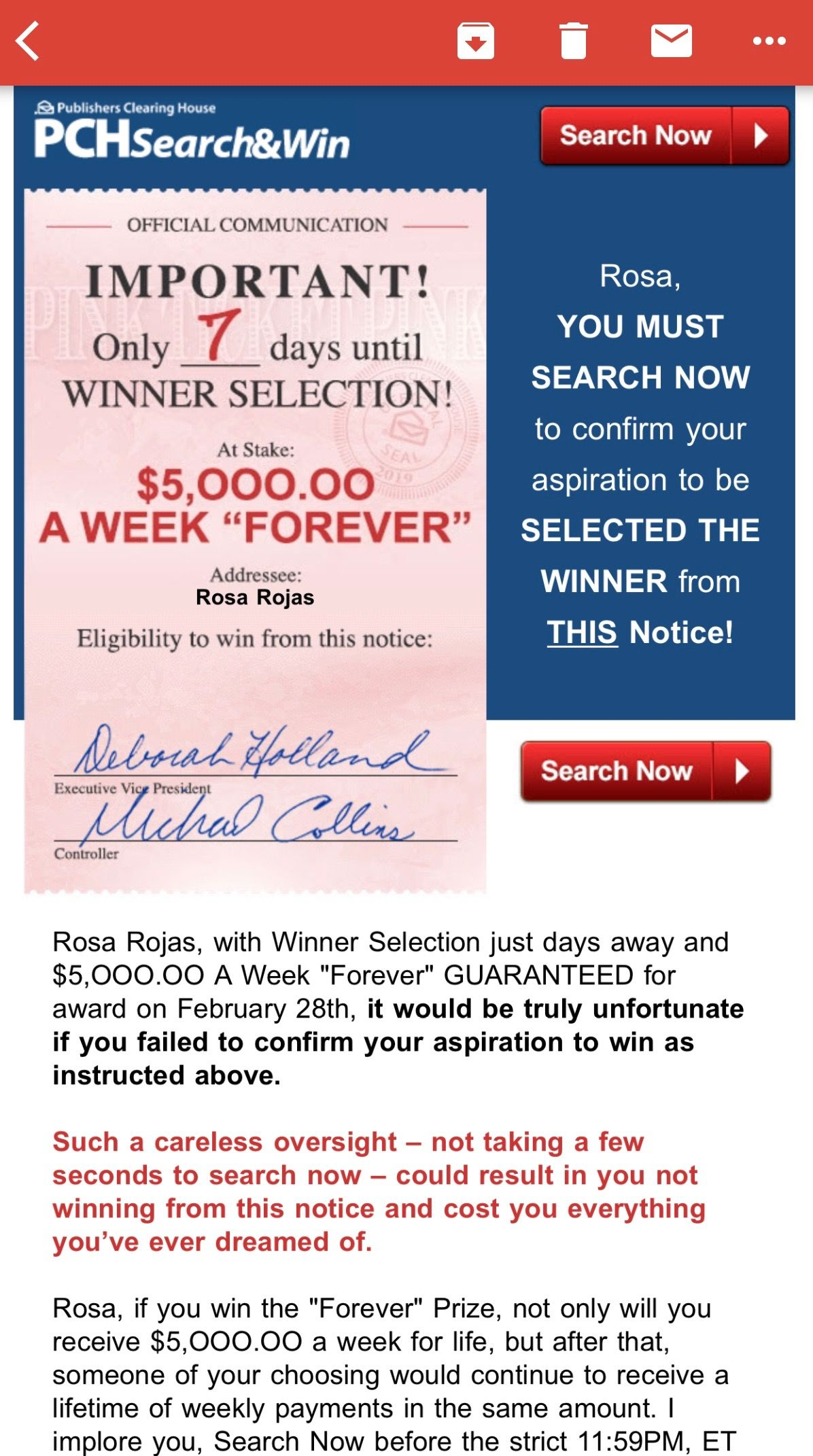 PCHSEARCH&WIN I RRojas Claim My OFFICIAL COMMUNICATION Eligibility