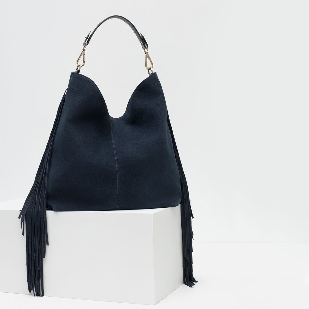 6238dc0823 Image 3 of FRINGED SUEDE TOTE from Zara | bags | Suede tote bag ...