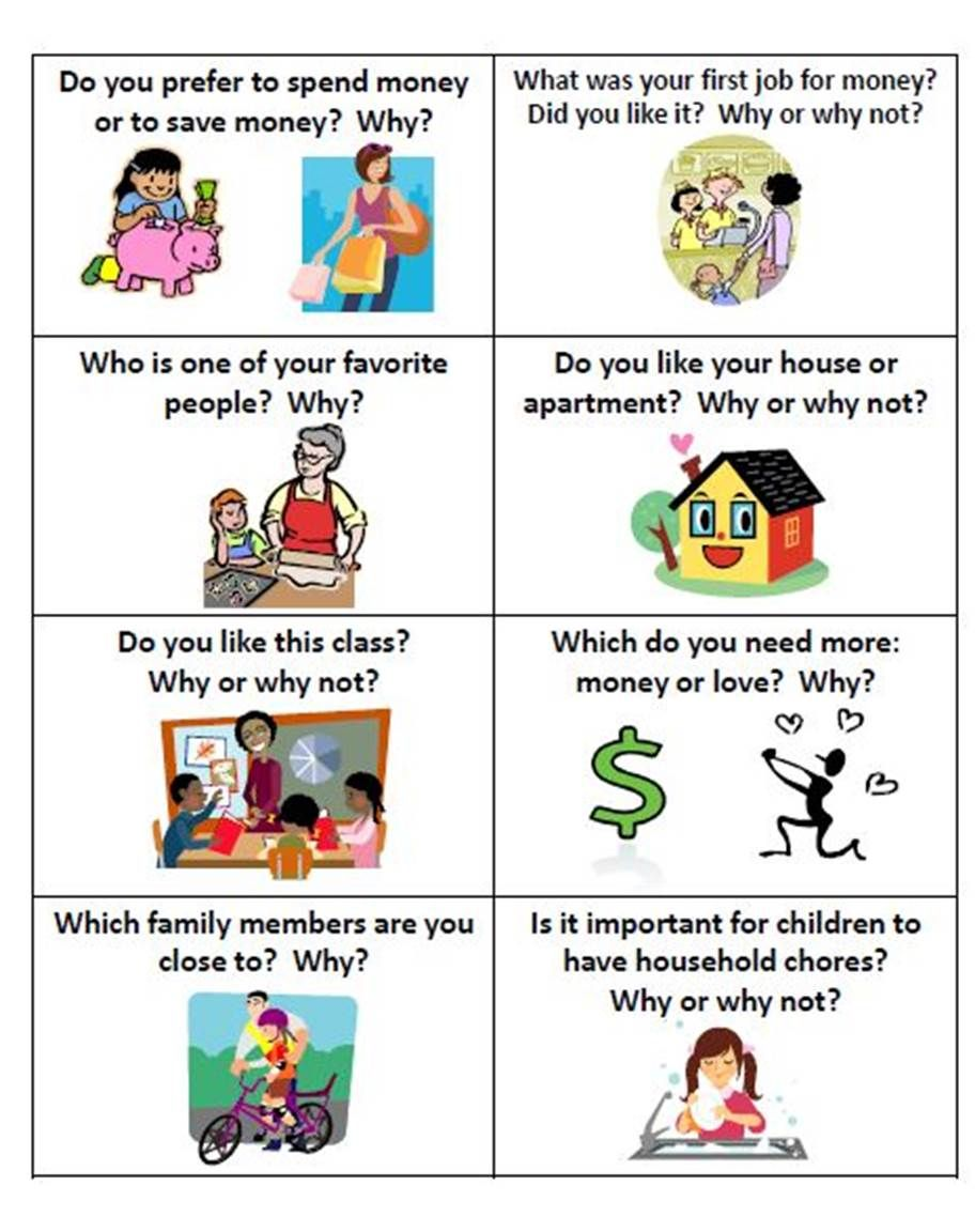 esl conversation fun cards why or why not  speaking
