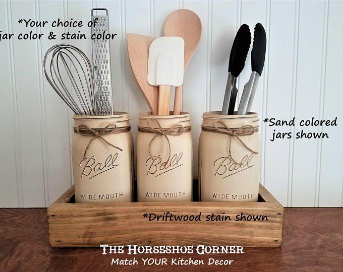 Weckglas Dekor, Mason Jar Utensilienhalter, Küche Organisation ...