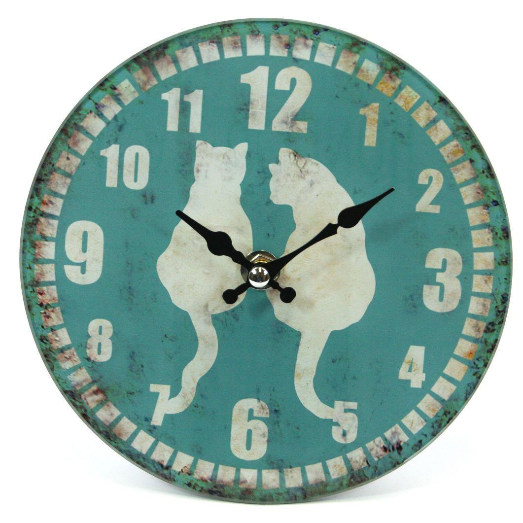 Cat clock blue 17cm freestandingwall hanging glass clock ebay cat clock blue 17cm freestandingwall hanging glass clock ebay amipublicfo Gallery