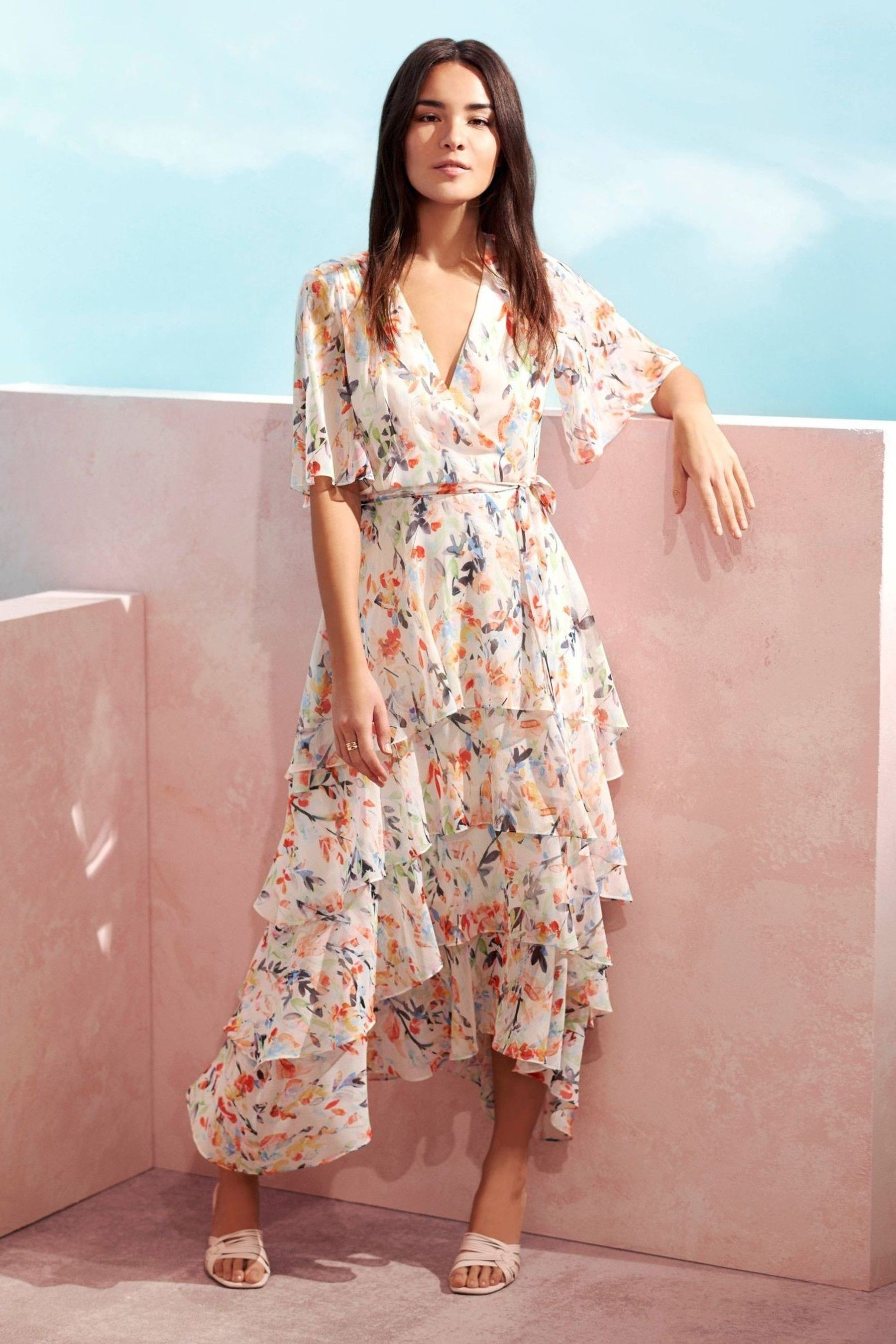 Buy Wallis Watercolour Leaf Tiered Dress From The Next Uk Online Shop In 2020 Tiered Dress Dresses Floaty Maxi Dress