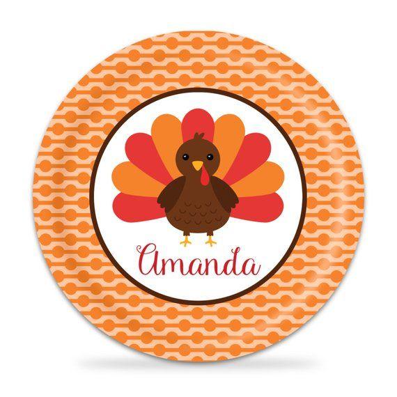 Thanksgiving Kids Plate - Orange Dot Turkey Family Dinner Plate