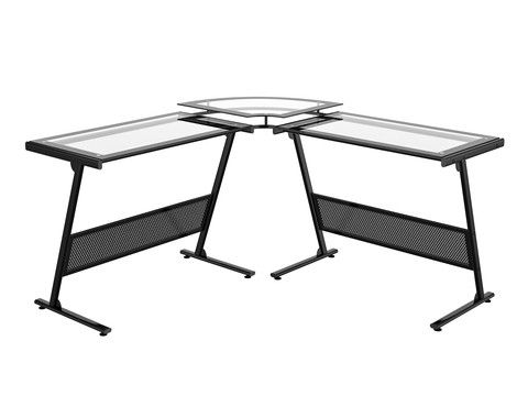 "Z-Line Designs Delano Glass ""L"" Computer Desk"