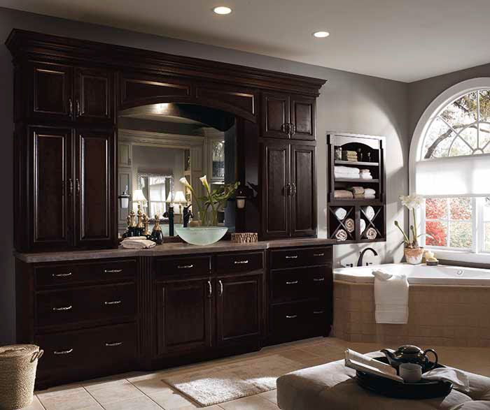 Dark Wood Cabinets In Traditional Bathroom By Diamond Cabinetry | Master  Bathroom | Pinterest | Dark Wood Cabinets, Traditional Bathroom And Dark  Bathrooms