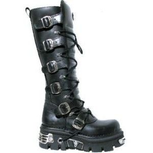 NEWROCK 272 METALLIC BLACK GOTH KNEE HIGH ZIP LEATHER BUCKLE BOOTS ...