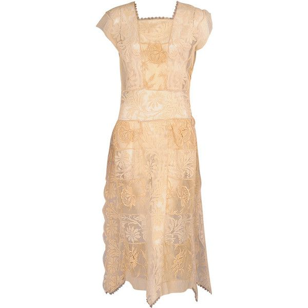 Preowned 1920's Filet Lace & Embroidered Dress ($950) ❤ liked on Polyvore featuring dresses, vintage, multiple, beige cocktail dress, beige lace dress, 1920s cocktail dresses, beige dress and vintage lace dress