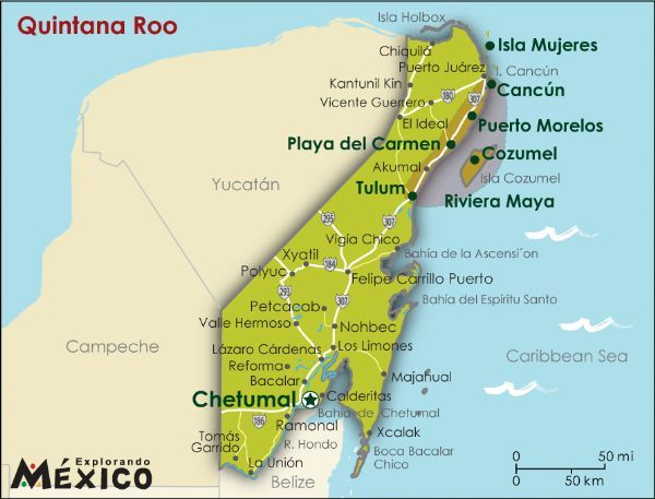 costa maya is a small tourist region in the municipality of othn p blanco in the state of quintana roo mexico the only state bounded by the caribbean