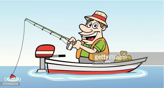 Great Illustration Of A Cartoon Guy Fishing In A Boat Perfect For A Cartoon Man Boat Cartoon Cartoon