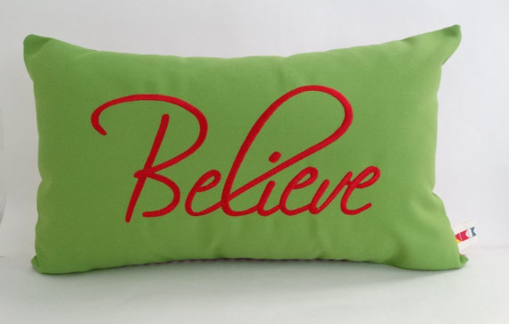 Sunbrella BELIEVE CHRISTMAS PILLOW Cover Indoor By OBACanvasCo Interesting Outdoor Christmas Pillow Covers
