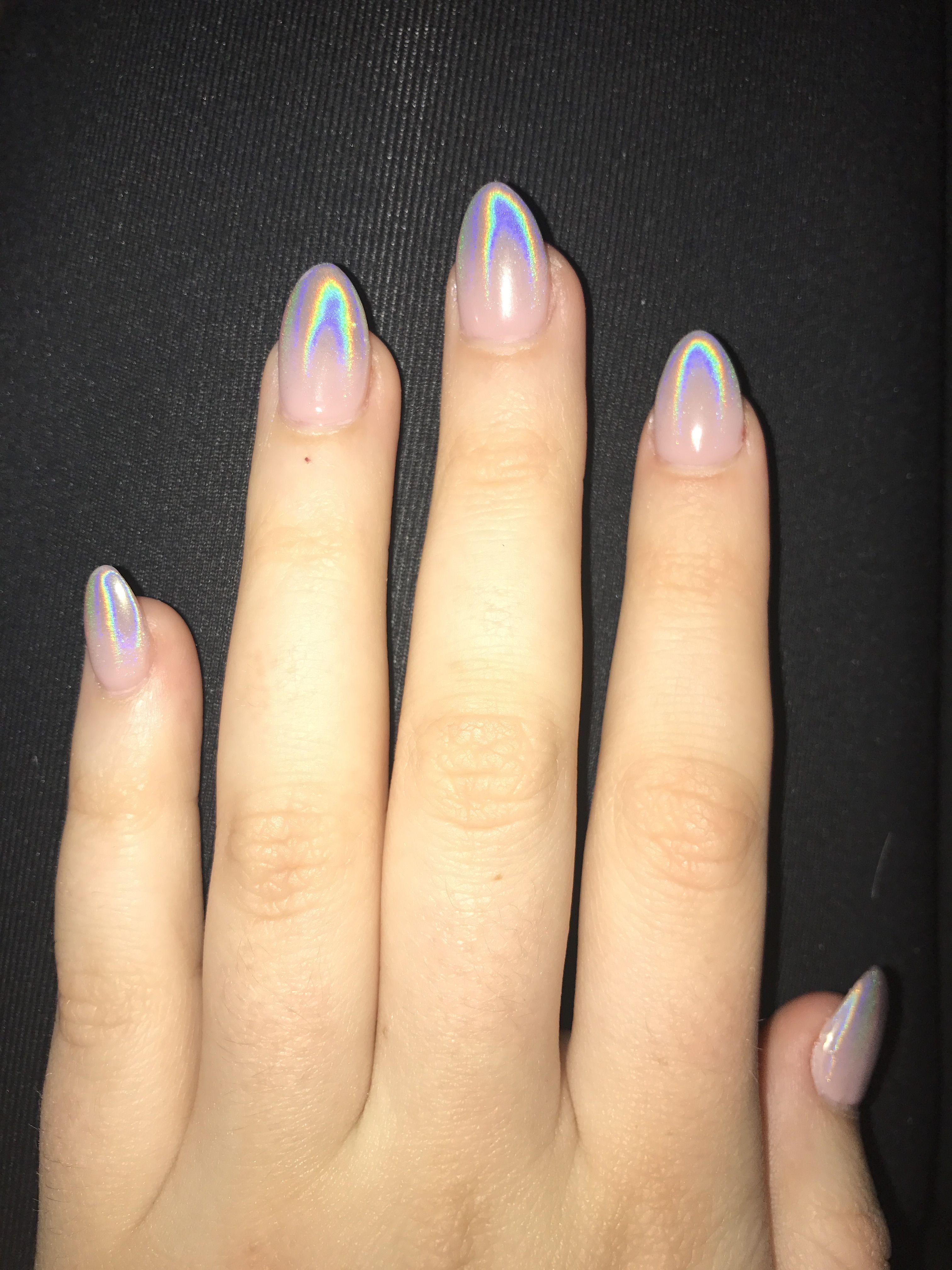 holographic ombre nails almond almondnails