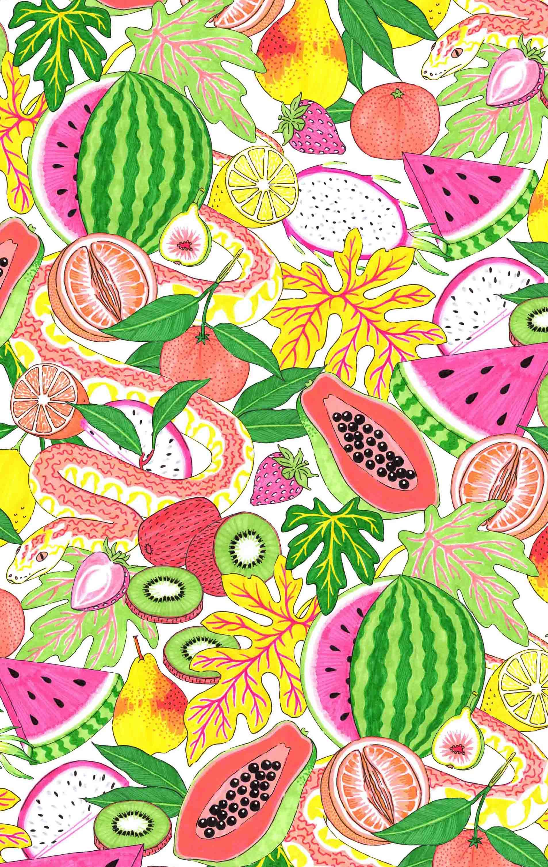Fruit Salad and snake, tropical fruity illustrations and