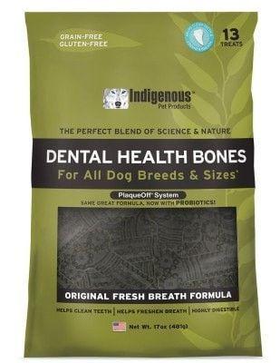 DOG TREATS - DENTAL CHEWS - INDIGENOUS DENTAL HEALTH BONE - FRESH BREATH FORMULA - 13CT - B & R PLASTICS, INC. - UPC: 40232017247 - DEPT: DOG PRODUCTS