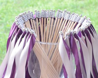 Chic Wedding Ribbon Wands Send Off Party Steamers Set Of 50 Double With Rhinestones And Bells