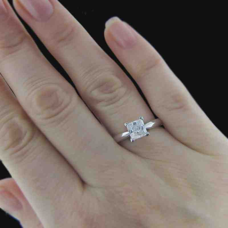 1 Carat Princess Cut Solitaire Diamond Engagement Ring
