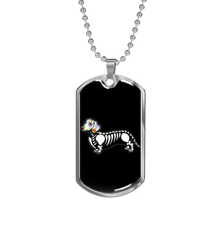 Tag der toten Sugar Skull Dachshund Dog Tag Halskette