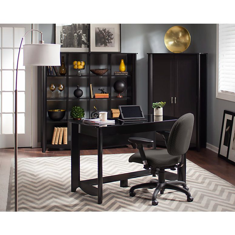 Bush Furniture Aero Writing Desk Classic Black Standard Delivery Item 342173 Cube Bookcase Bush Furniture Tall Cabinet Storage