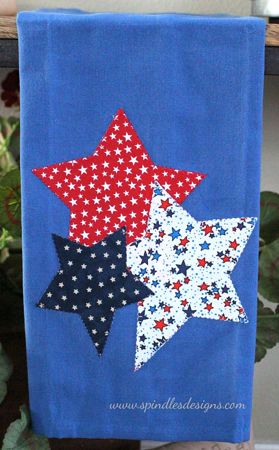 4th Of July Kitchen Towel Americana Towel Applique Towel Stars