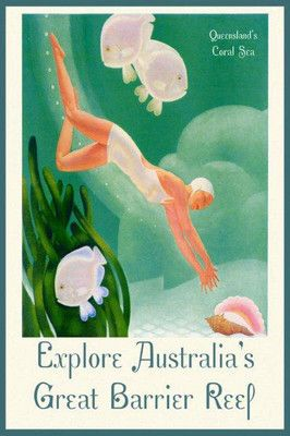 Australia Coral Sea Great Barrier Reef Fish Fine Vintage Poster Repro Free s H | eBay