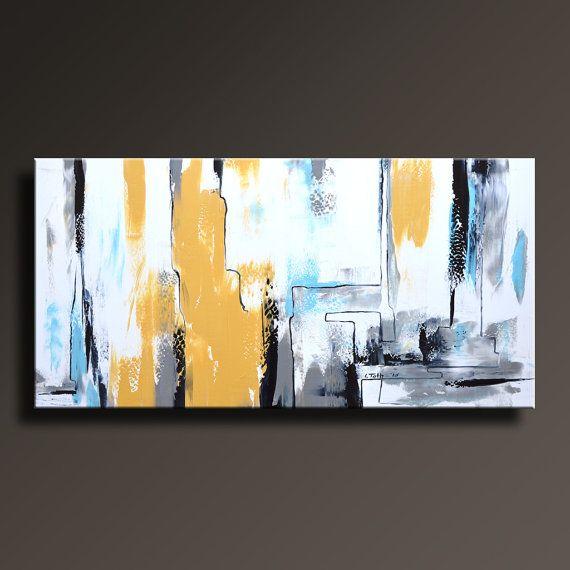 abstrakte malerei gelb grau wei schwarz blau malerei von itarts bilder pinterest blau. Black Bedroom Furniture Sets. Home Design Ideas