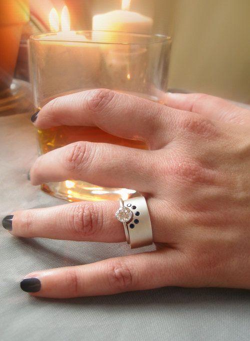 Grand scepter engagement ring moissanite recycled 14k gold 950