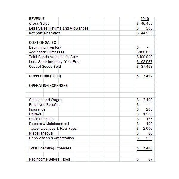 Sample Income Statement-Historical Figures research Pinterest - profit and loss statement for self employed template free