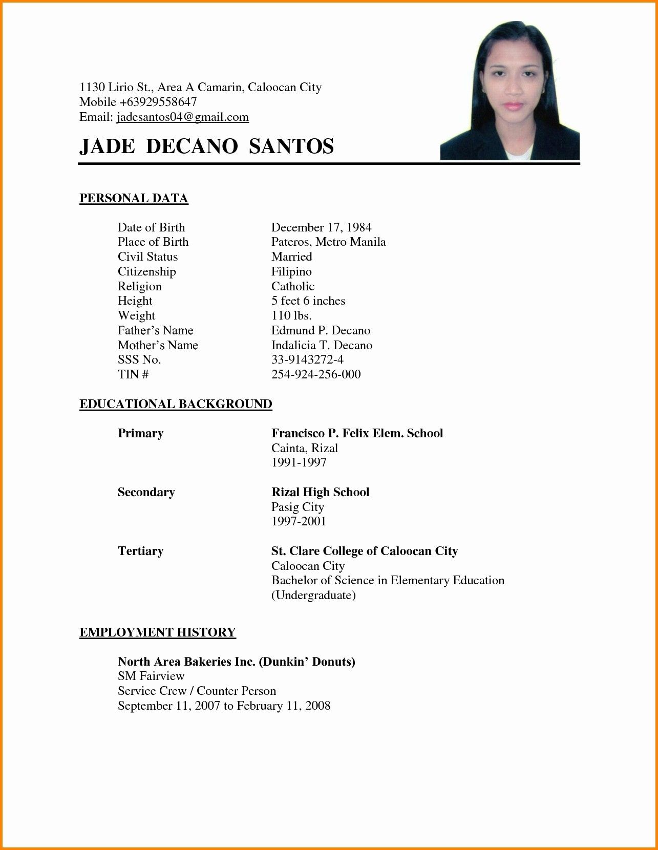 Simple Resume Format Check More At Https Cleverhippo Org Simple Resume Format Sample Resume Format Simple Resume Format Basic Resume Examples