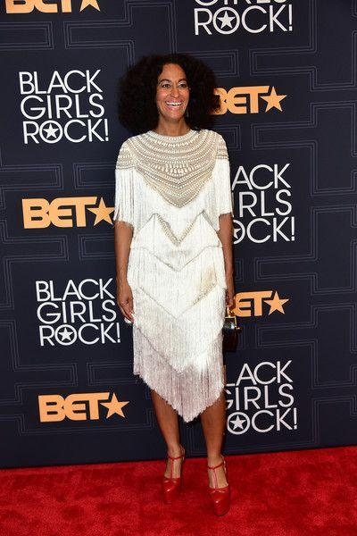 5e49ebcbc40 Tracee Ellis Ross white fringe dress Leah Da Gloria | Fashionistas ...
