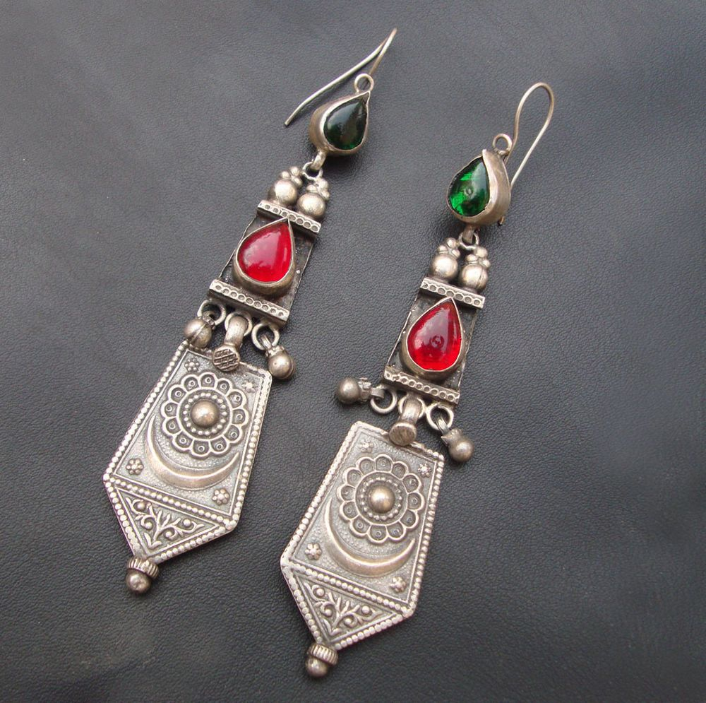 Large Statement Jhumka-Tribal Earrings-Red Crystal Beads And Round Jhumki-Tribal Jewellery-Silvestoo India PG-128236 Pwo1y9Ht