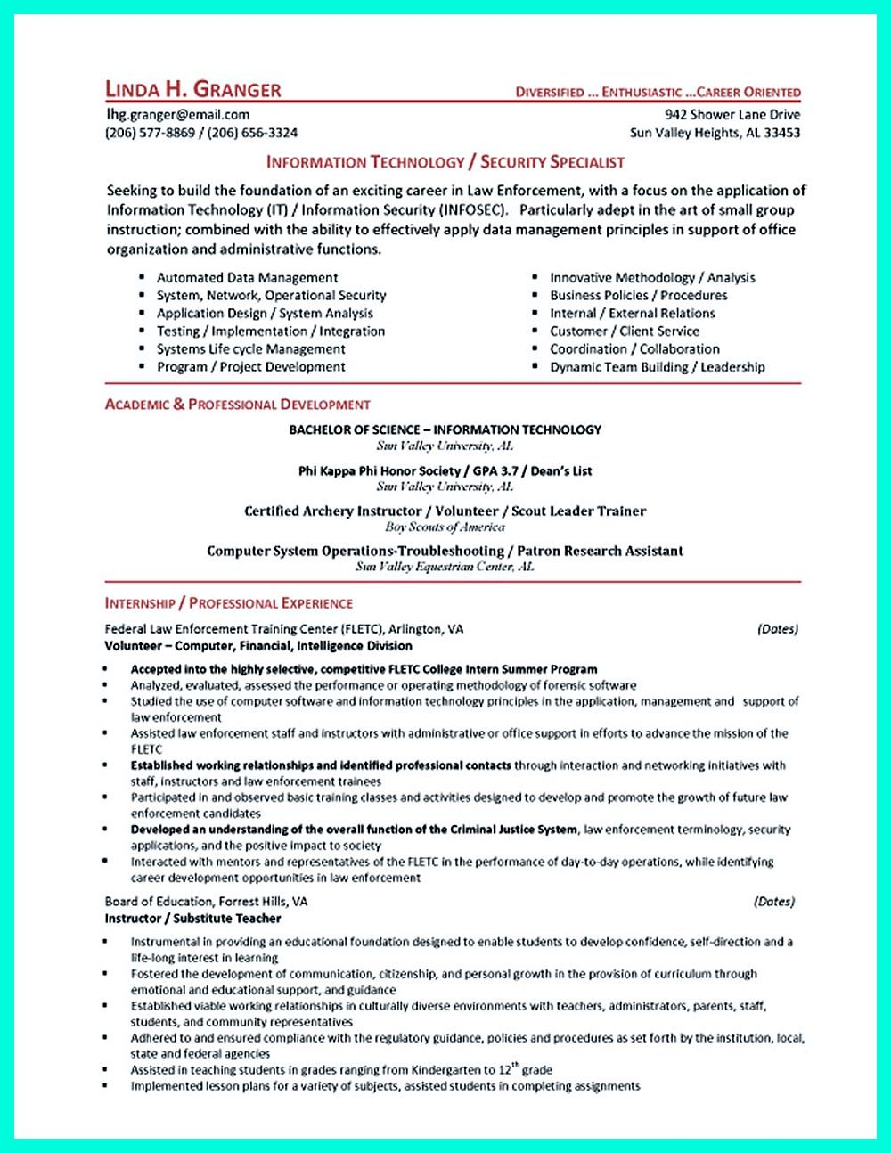 Security Resume Sample Cyber Security Resume Must Be Well Created To Get The Job Position