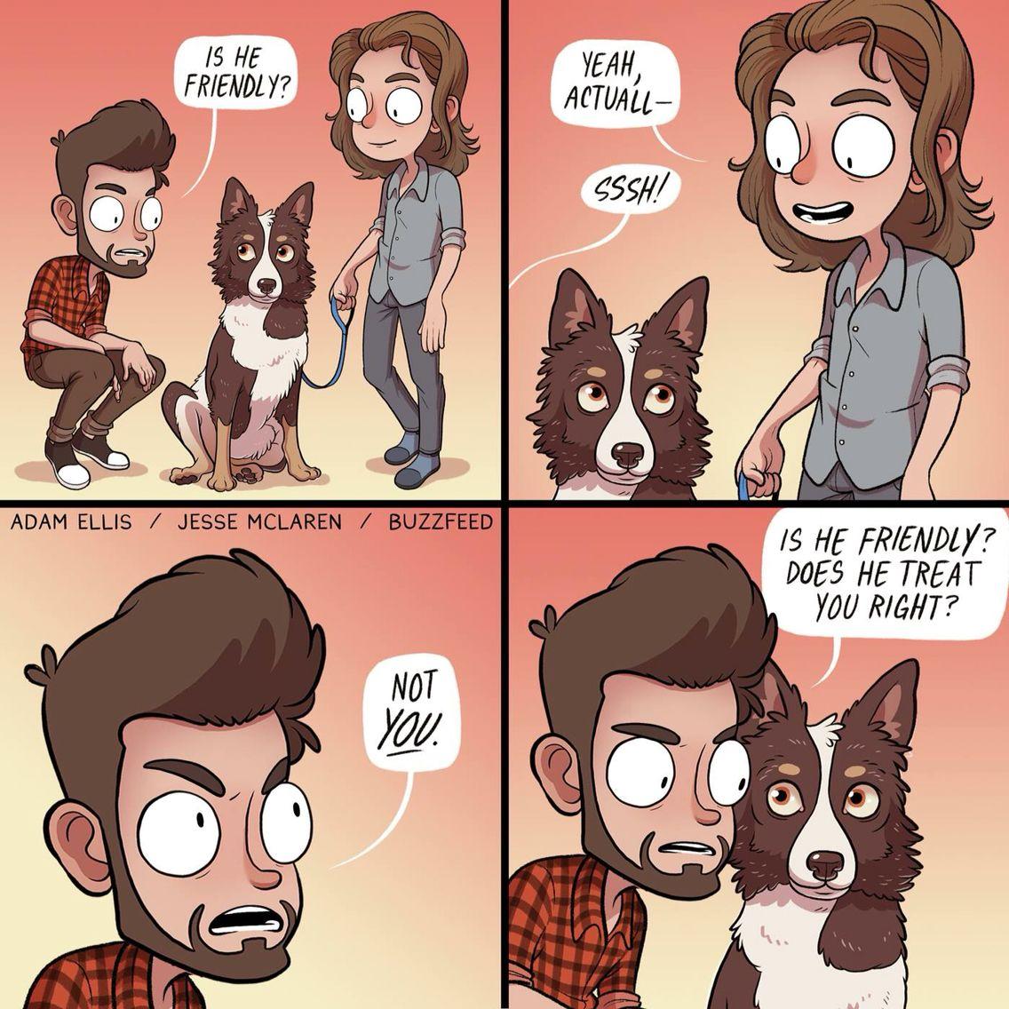Adam Ellis-------basically me when I see a dog
